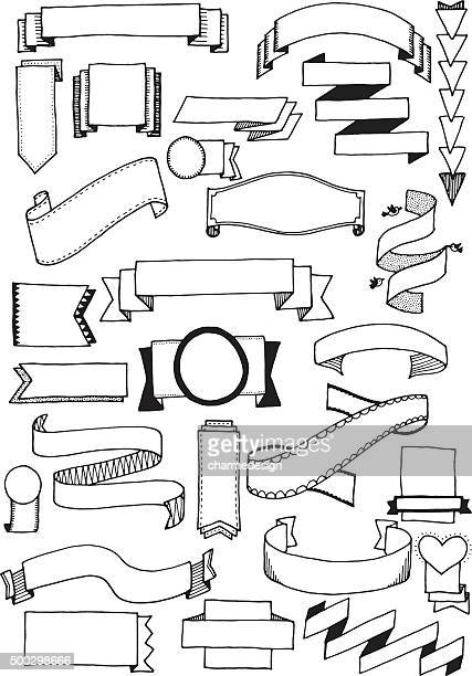 doodle banners - embellishment stock illustrations