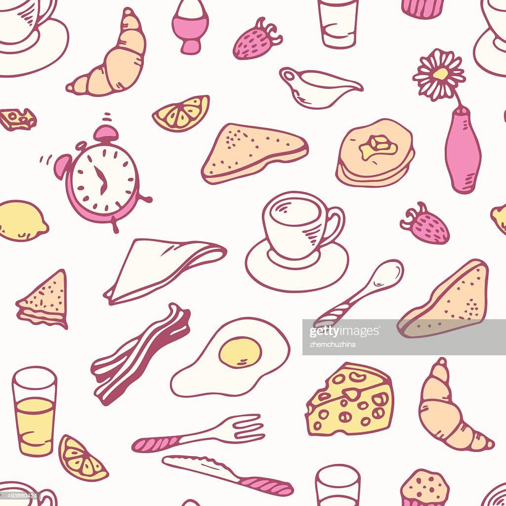 Doodle breakfast seamless pattern