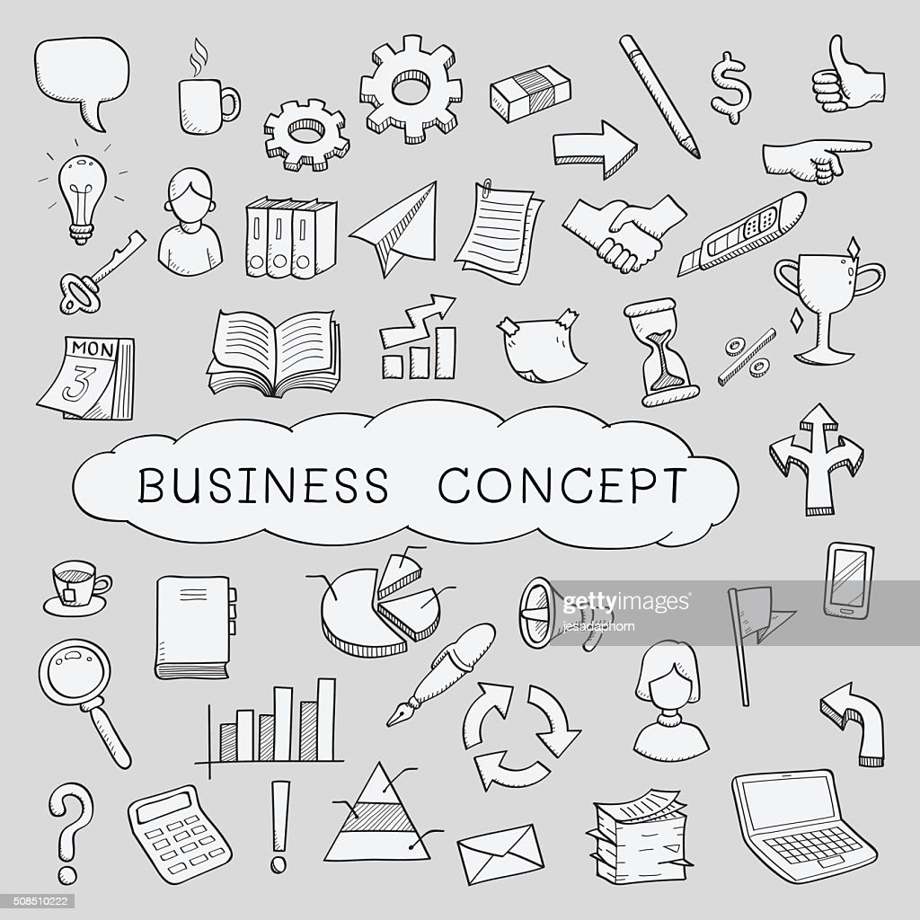 doodle business concept icons