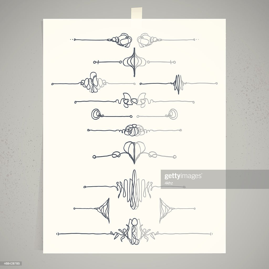 Doodle Calligraphy Divider Decoration Ornament Design Template ...