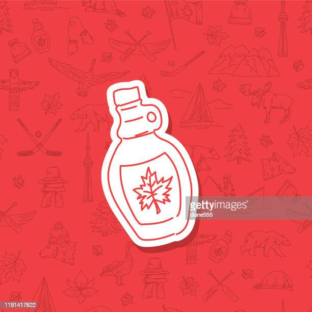 doodle canada icon on pattern background - maple syrup stock illustrations