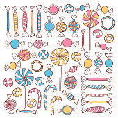 Doodle Candies Sweets Hand Drawn Objects Set