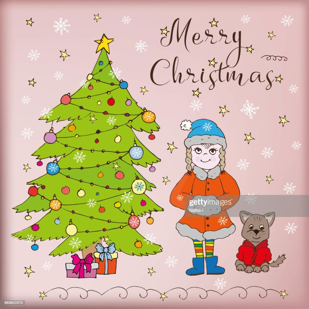 Doodle Card Merry Christmas Tree Snow Girl And Dog Gifts Vector Art ...