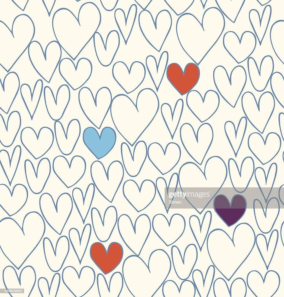 Doodle cartoon backdrop with hand drawn hearts