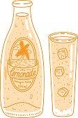Doodle cartoon orange lemonade glass and bottle set.