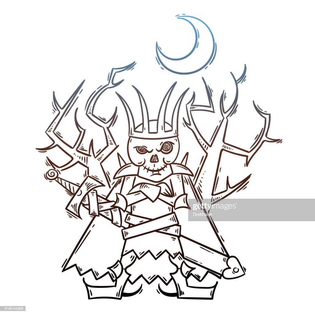 Doodle cartoon Russian Lich King. Koschey with sword and moon. Halloween illustration