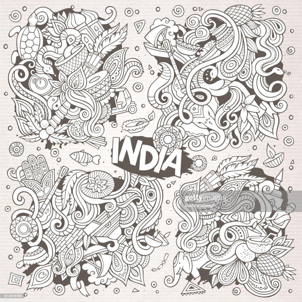 Doodle cartoon set of Indian designs