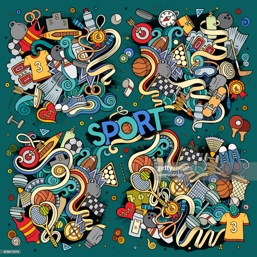 Doodle cartoon set of Sport designs