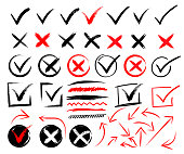 Doodle check marks and underlines. Hand drawn red strokes and pen markings V marks for list items. Check and wrong icons set of check marks. Green tick, red cross, black tick and cross. Yes or no.