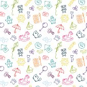 Doodle children drawing background. Sketch set of drawings in child style. Seamless pattern for cute little girls and boys