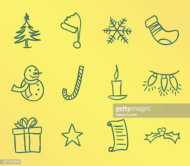 doodle christmas icons - candle stock illustrations, clip art, cartoons, & icons