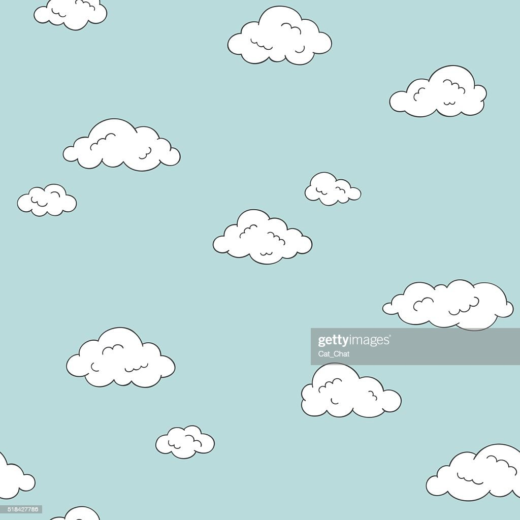 Doodle clouds seamless background