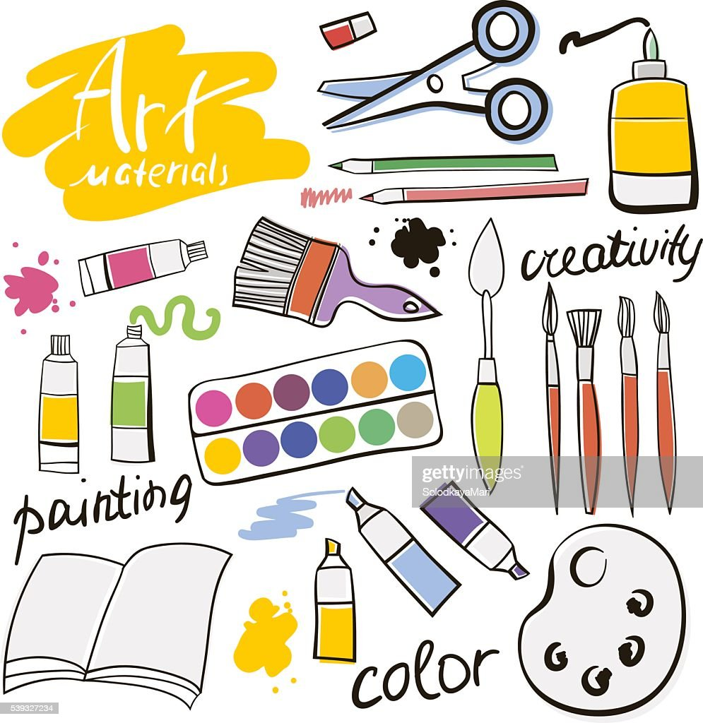 Doodle colored art materials collection. Hand drawn art icons set.