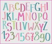 Doodle colorful kids font