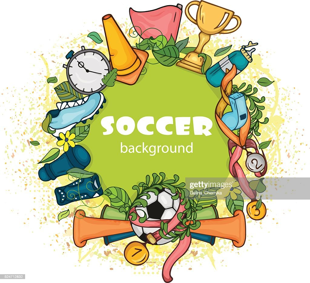 Doodle colorful soccer composition with sport objects on green globe
