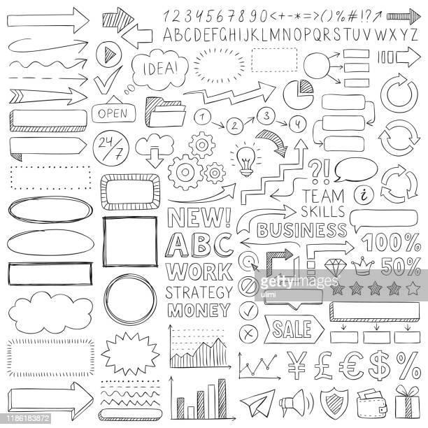illustrazioni stock, clip art, cartoni animati e icone di tendenza di elementi di design doodle - disegnare