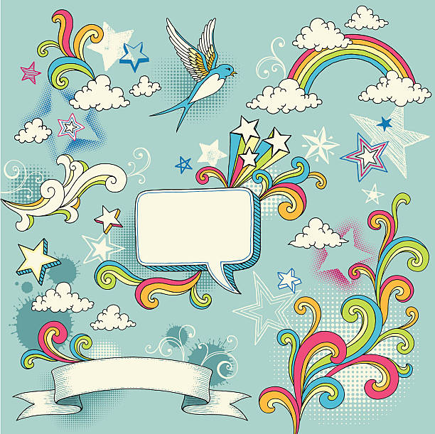 doodle design elements - rainbow stock illustrations