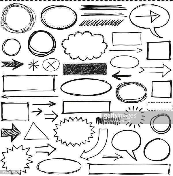 doodle design elements - pencil drawing stock illustrations, clip art, cartoons, & icons