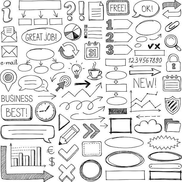 doodle design elements - pencil drawing stock illustrations