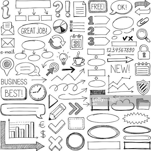 doodle design elements - pencil drawing stock illustrations