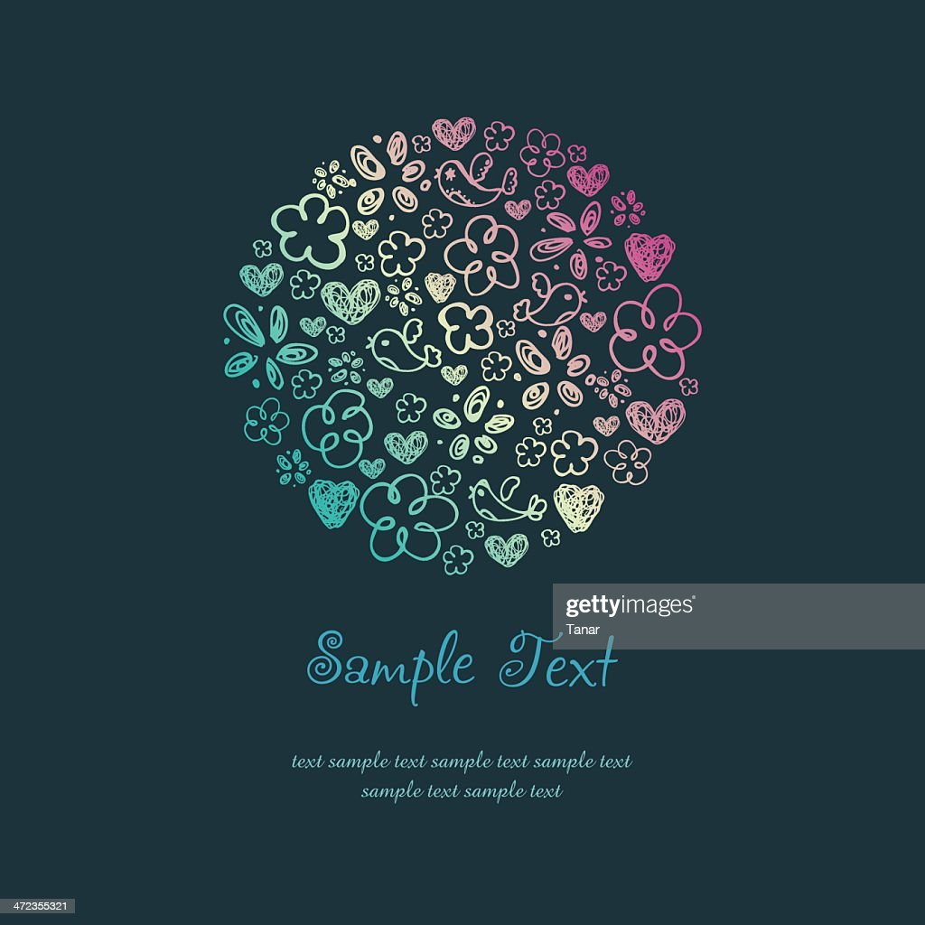 Doodle Design Template with illustration of birds, hearts and flowers