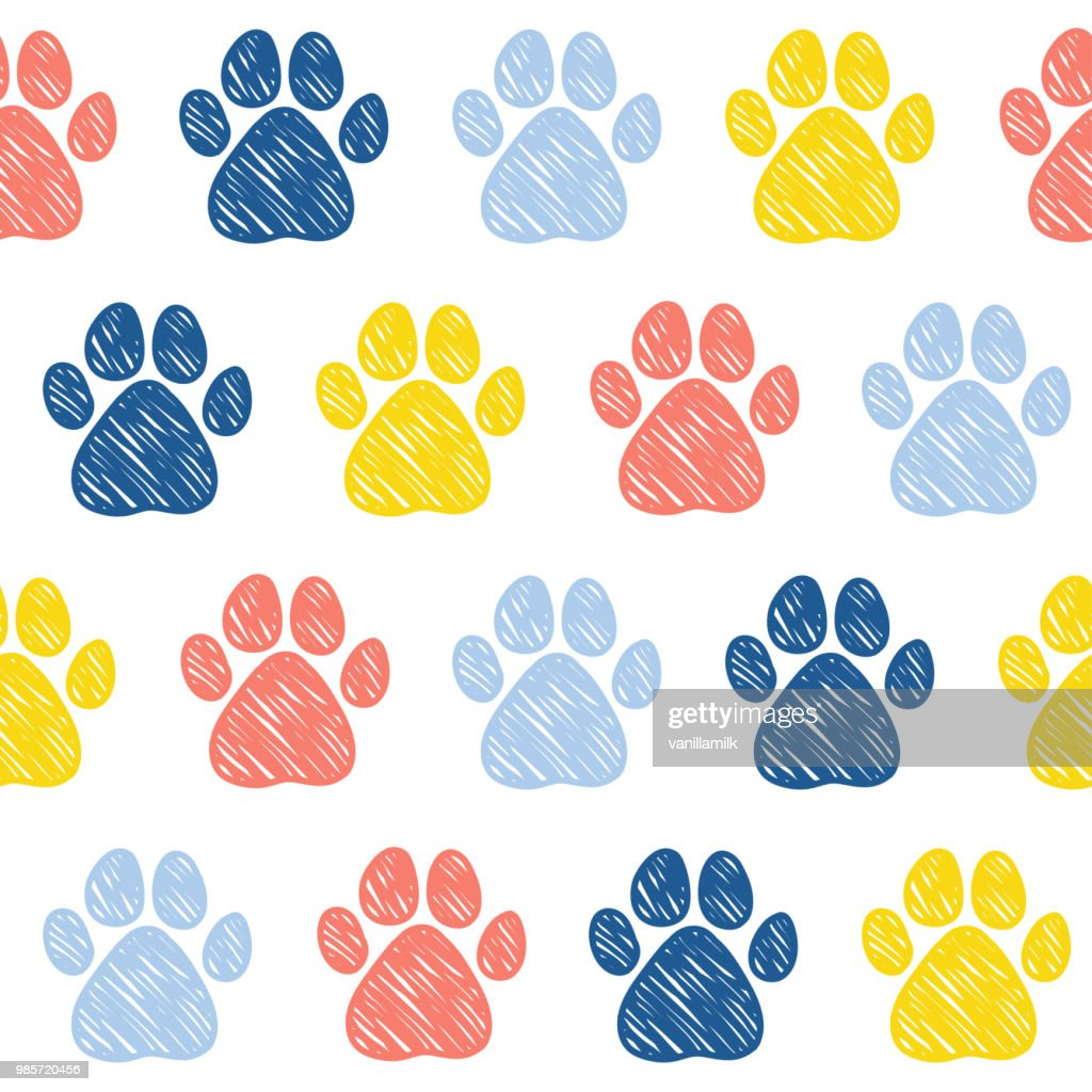 Doodle dog paw seamless pattern background.