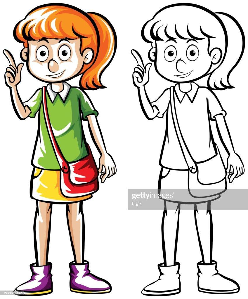 Doodle drafting of girl with handbag