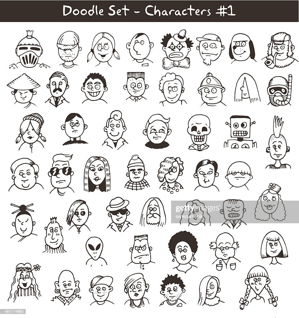 Doodle Drawings of People's Heads