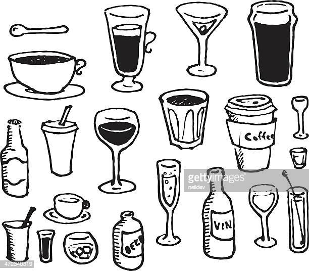 doodle drinks - shot glass stock illustrations, clip art, cartoons, & icons