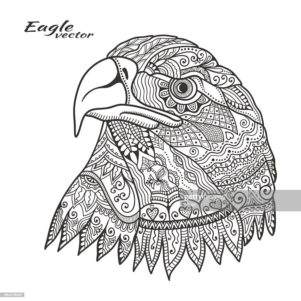 Doodle eagle bird for coloring book page,