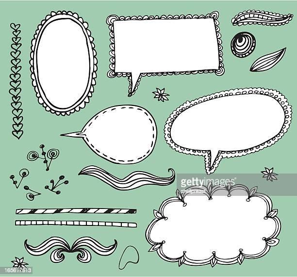 stockillustraties, clipart, cartoons en iconen met doodle elements - gekarteld