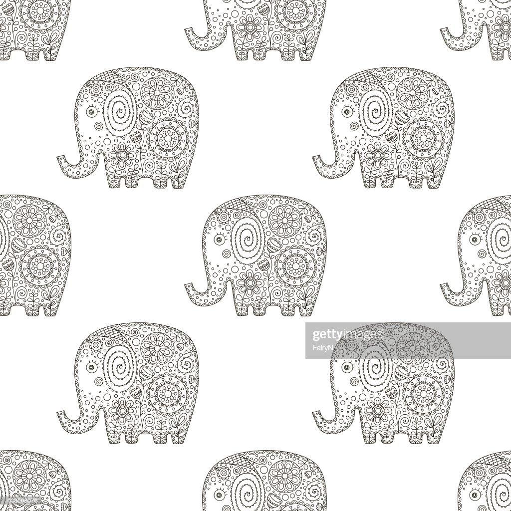 doodle elephant pattern