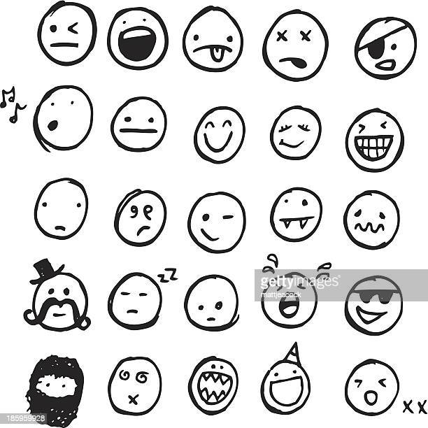 doodle emotions - smiling stock illustrations