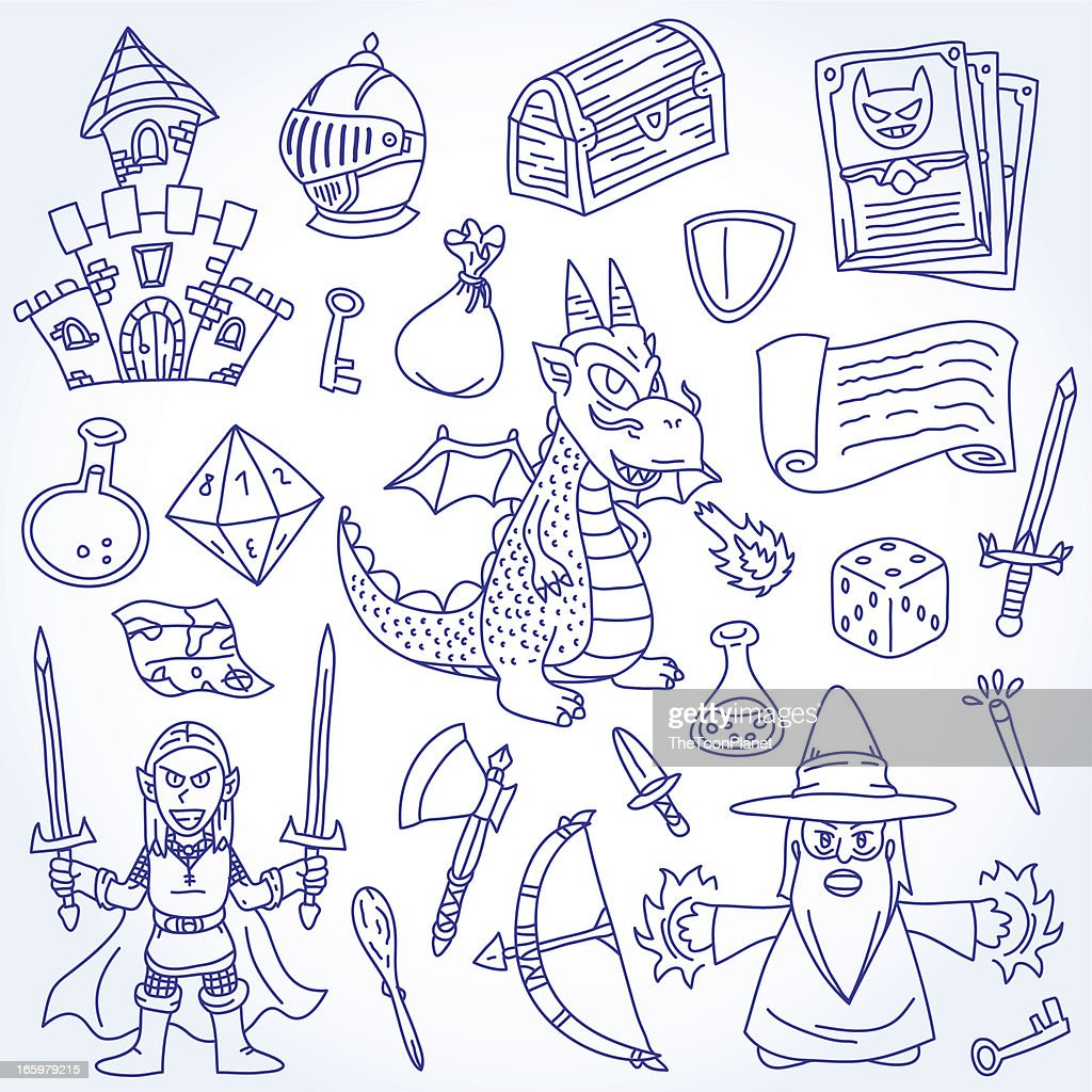 Doodle Epic and Fantasy Character Vector Outline Drawing Illustration Set : stock illustration