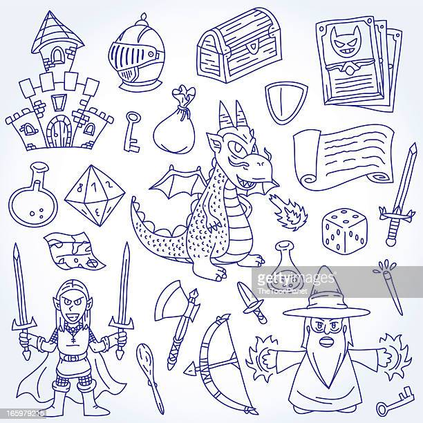 doodle epic and fantasy character vector outline drawing illustration set - ballpoint pen stock illustrations, clip art, cartoons, & icons