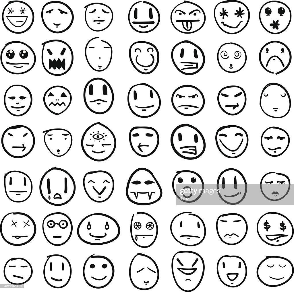 Doodle Faces Design Element Set