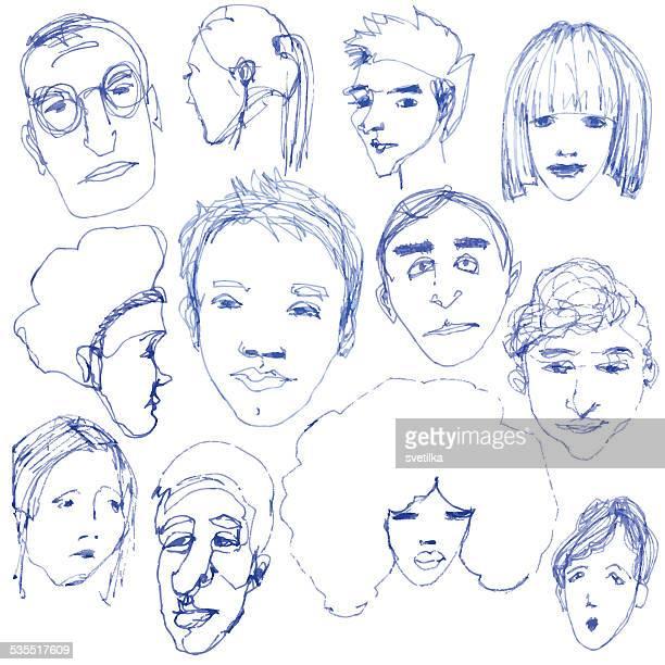 stockillustraties, clipart, cartoons en iconen met doodle faces - karikatuur