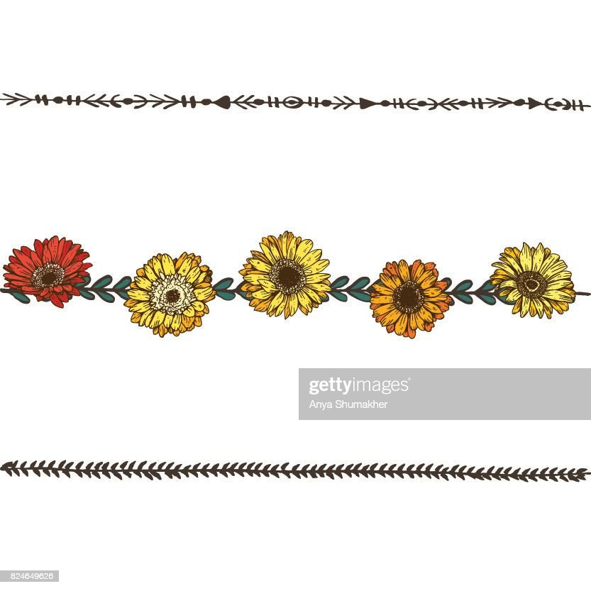Doodle floral line with colorfull daisies flowers flower design doodle floral line with colorfull daisies flowers flower design elements floral border vector izmirmasajfo