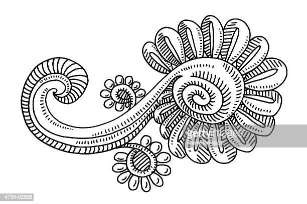 Doodle Flower Element Drawing