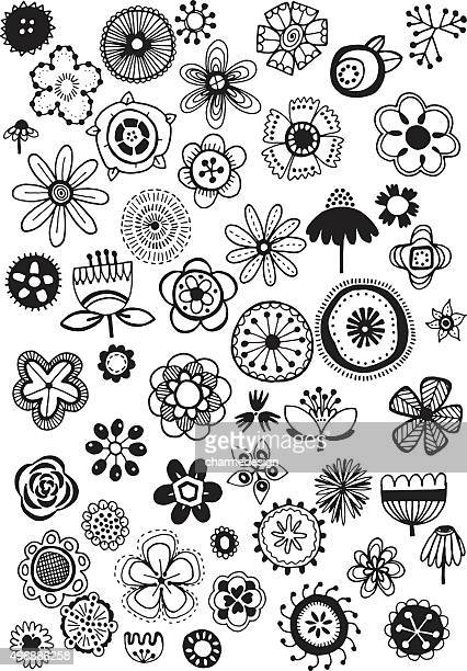 doodle flowers - daisy stock illustrations, clip art, cartoons, & icons