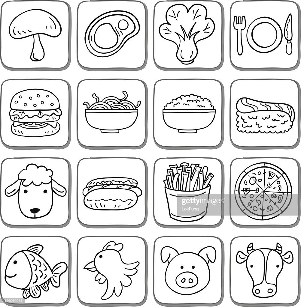 Doodle food icon set in black and white