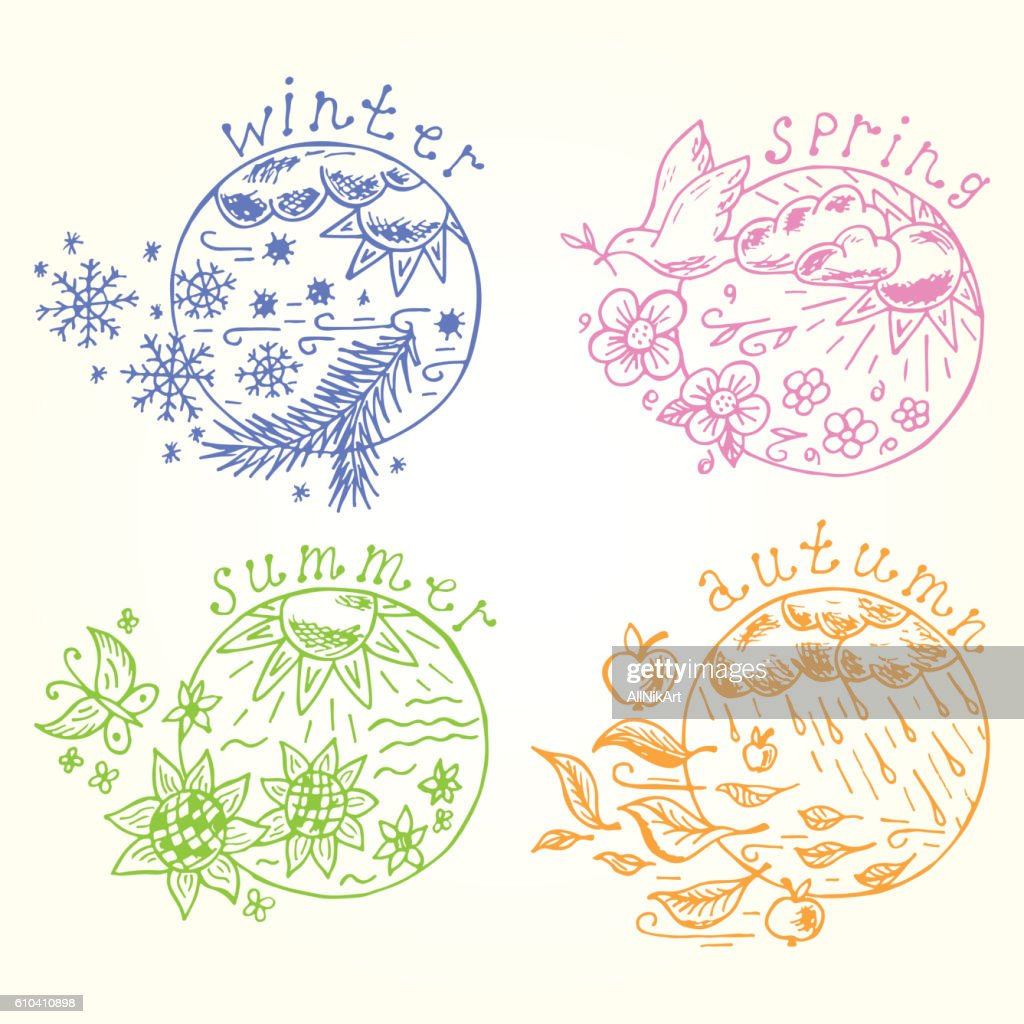 Doodle Four seasons icons. Seasons set. Times of year. Weather.