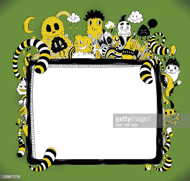 doodle frame - punk person stock illustrations, clip art, cartoons, & icons