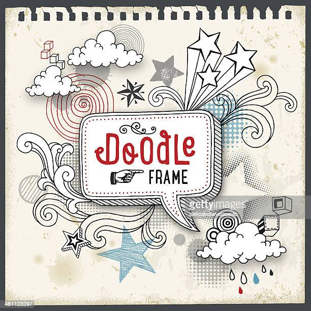 doodle-frame - gekritzel zeichnung stock-grafiken, -clipart, -cartoons und -symbole