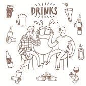 Doodle friends drinking beer set.