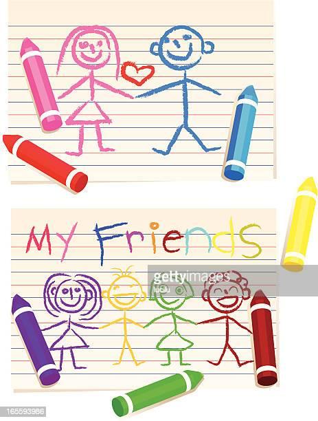 落書きご友人と - クレヨン点のイラスト素材/クリップアート素材/マンガ素材/アイコン素材
