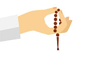 doodle gesture hand exalting for god using prayer beads or tasbih