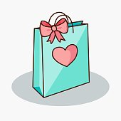Doodle gift bag with bow and heart