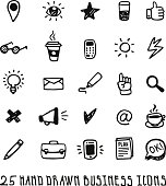 Doodle hand drawn business icons vector set