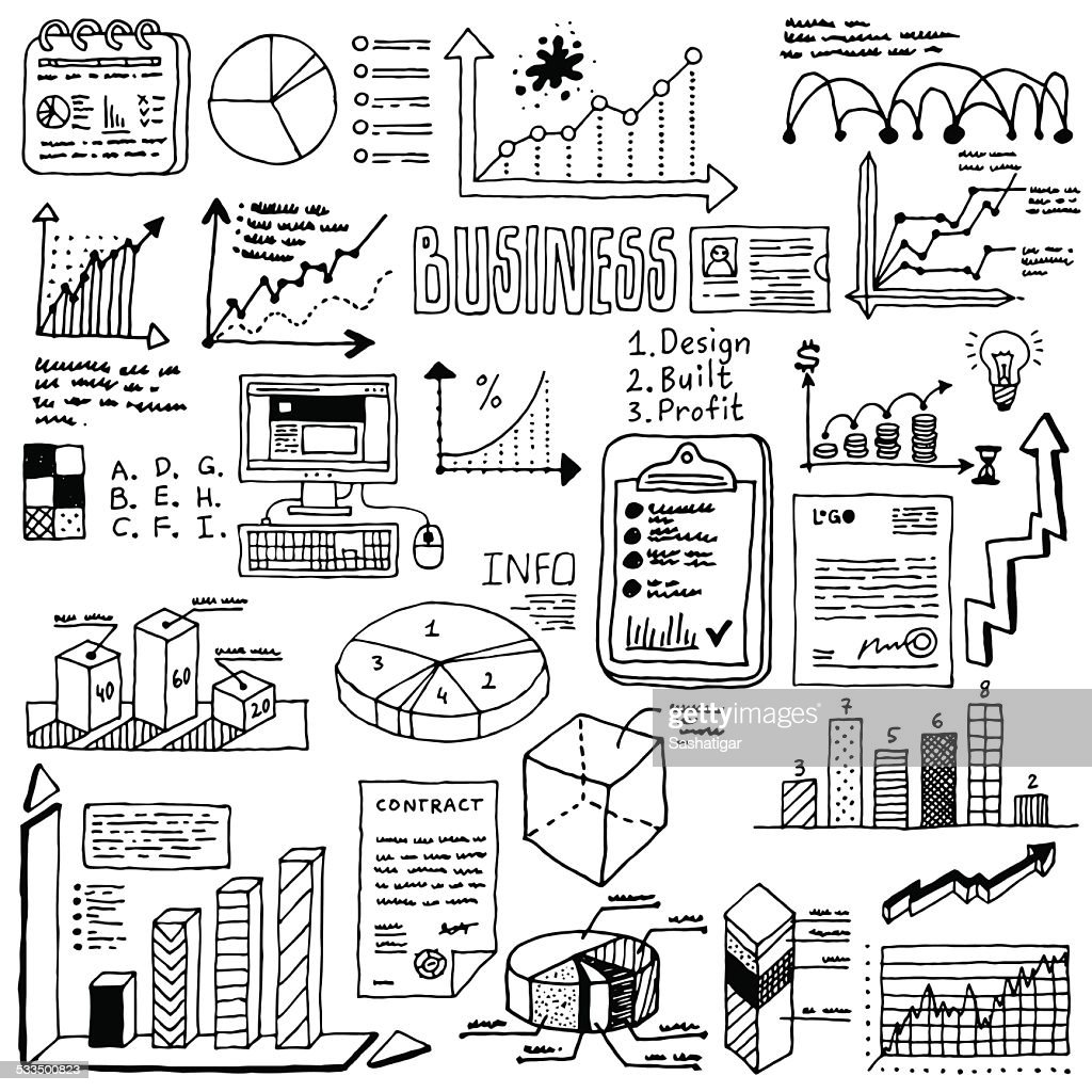 Doodle hand drawn infographic elements set 2. Vector illustration.